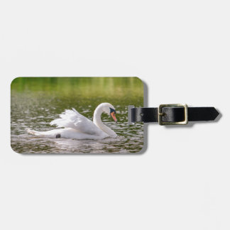 White swan on a lake luggage tag