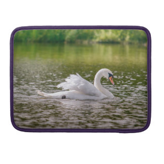 White swan on a lake sleeve for MacBook pro