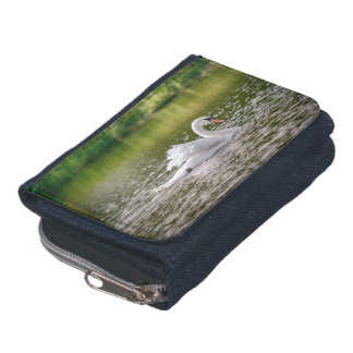 White swan on a lake wallet