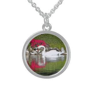 WHITE SWAN ON POND AND DEEP-PINK FLOWERS ON BANK ROUND PENDANT NECKLACE