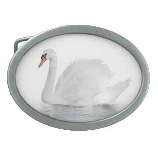 White Swan Oval Belt Buckle