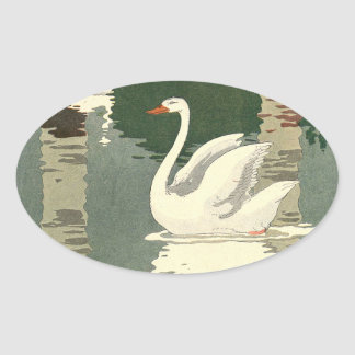 White Swan Reflected on the Lake Oval Sticker