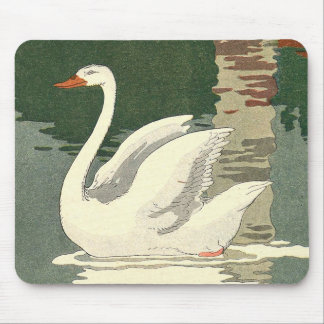 White Swan Reflections on the Lake Mouse Pad