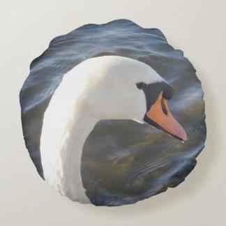 White Swan Round Pillow
