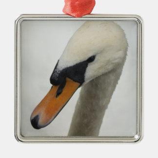 White Swan Silver-Colored Square Decoration