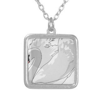 white swan silver plated necklace