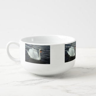 White Swan Soup Bowl With Handle