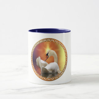 White Swan with gold and orange backdrop Mug