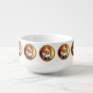 White Swan with gold and orange backdrop Soup Mug