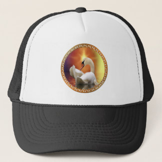 White Swan with gold and orange backdrop Trucker Hat