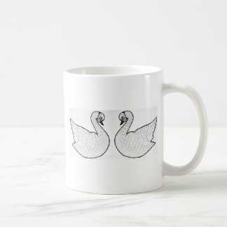 White swans coffee mug