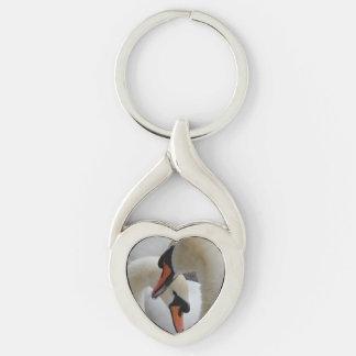 White Swans Heart Keychain