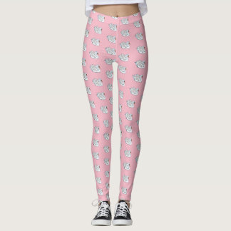 White Swans /Pale Pink - Leggings