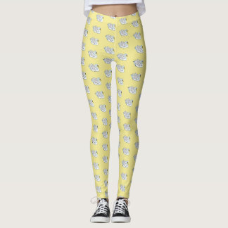 White Swans /Pale Yellow - Leggings