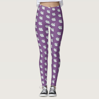 White Swans /Purple - Leggings