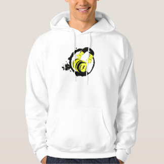 White Sweatshirt with hood logo coughs up
