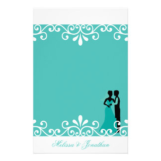 White Swirl Bride Groom Teal Elegant Wedding Customized Stationery