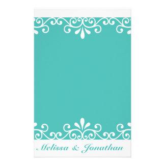 White Swirl Bride Groom Teal Elegant Wedding Stationery Paper