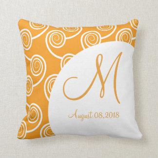 White Swirl Orange Monogram Wedding Keepsake Cushion