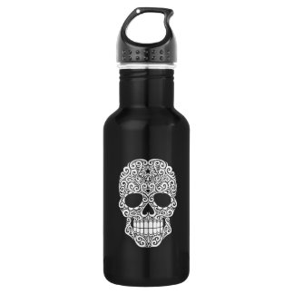 White Swirling Sugar Skull 532 Ml Water Bottle
