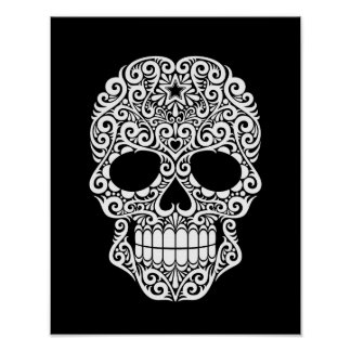White Swirling Sugar Skull on Black Poster