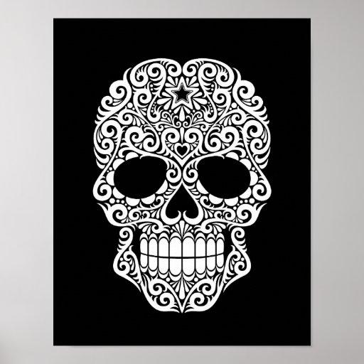 White Swirling Sugar Skull on Black Print