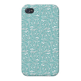 White Swirling Vines on Turquoise iPhone 4/4S Covers