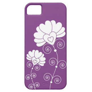 White Swirls And Floral Pattern - Purple iPhone 5 Case