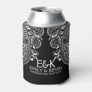 White Swirls Lace Wedding Template Can Cooler