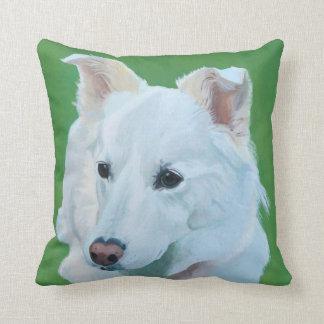 White Swiss Shepherd dog art on a pillow. Cushion