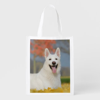 White Swiss Shepherd Dog Photo - Cute Furry Friend Reusable Grocery Bag