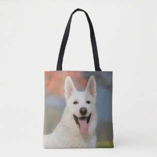 White Swiss Shepherd Dog Photo : Cute Furry Friend Tote Bag