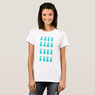 White T-shirt with cat illustration for women