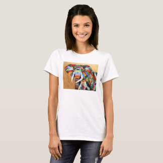 White t-shirt with colourful Elephant design