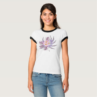 White t-shirt with pink herbs