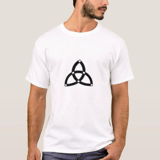 white t-shirt with trinity design