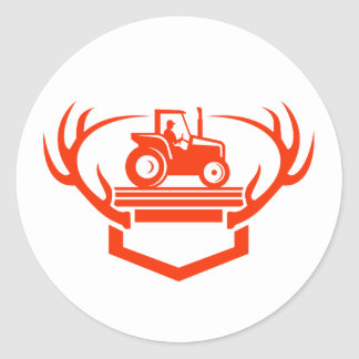 White Tail Deer Antler Tractor Retro Classic Round Sticker