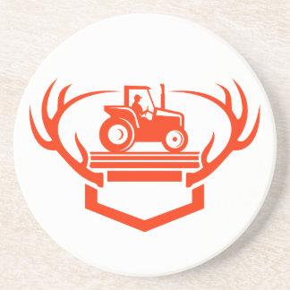 White Tail Deer Antler Tractor Retro Coaster