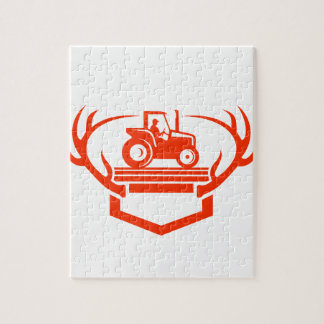 White Tail Deer Antler Tractor Retro Jigsaw Puzzle