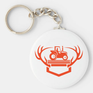 White Tail Deer Antler Tractor Retro Key Ring