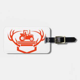 White Tail Deer Antler Tractor Retro Luggage Tag