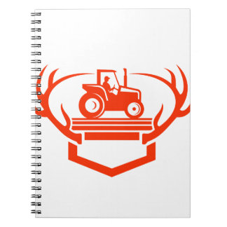 White Tail Deer Antler Tractor Retro Notebooks