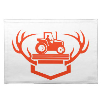 White Tail Deer Antler Tractor Retro Placemat