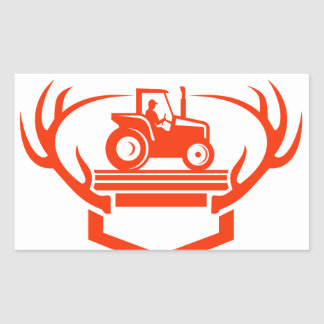 White Tail Deer Antler Tractor Retro Rectangular Sticker