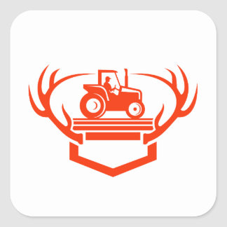 White Tail Deer Antler Tractor Retro Square Sticker