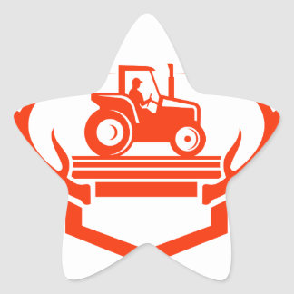 White Tail Deer Antler Tractor Retro Star Sticker