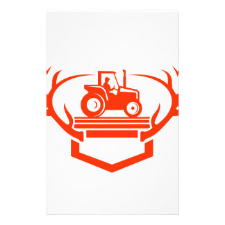 White Tail Deer Antler Tractor Retro Stationery