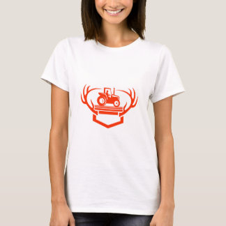 White Tail Deer Antler Tractor Retro T-Shirt