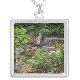 White-tailed deer fawn hiding in backyard square pendant necklace