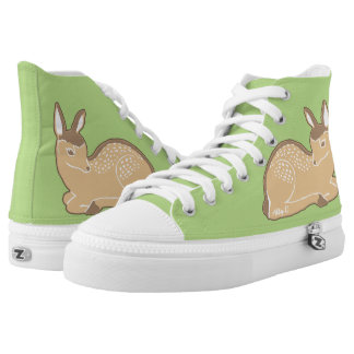 White-Tailed Deer Light Green Shoes Printed Shoes